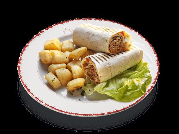 Piadina o pita con Shawarma (kebab) e patate o hommos o tabbulè