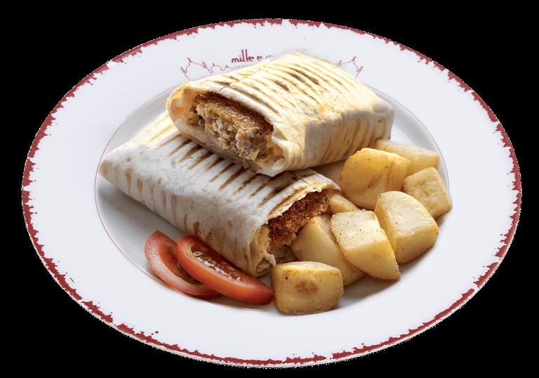 Piadina o pita con falafil e hommos o patate o tabbulè