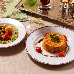 Burghul al pomodoro con insalata Siriana